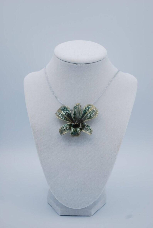 White Dyed Black Dendrobium Orchid Necklace  Pendant Necklace image 0