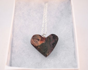 Handmade Marble Heart Necklace.