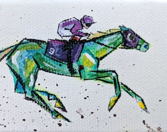 "Mini Race Horse 4x2"" original painting"