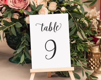 Wedding Table Numbers, Table Number, Wedding Reception Table Signage, Wedding Decoration, Wedding Stationery, Custom Colors - Dancing Script