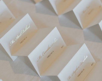 Gold Foil Wedding Place Cards, Wedding Escort Card, Calligraphy Script, Wedding Table Cards, Place Card, Seating Chart   Opposites Attract