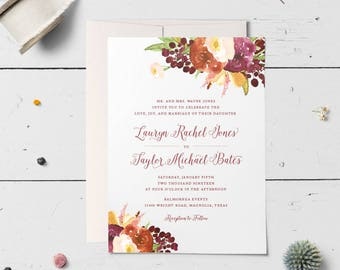 Floral Wedding Invitation Suite, Garden Wedding Invitations, Marsala Wedding, Fall Wedding Ideas, Botanical, Customizable | Floral Passion