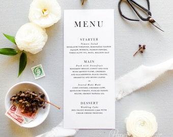 "Wedding Menu Cards - Wedding Menus - Elegant Calligraphy Script - 5x7"" or 4x9.25"" Printed Menus, Customizable | Serif Affair"