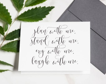 Cute Will You Be My Bridesmaid - Bridesmaid Card, Maid Of Honor, Plan With Me Stand With Me, Bridesmaid Proposal   Madison, Plan With Me
