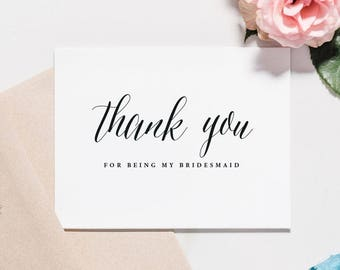 Thank You For Being My Bridesmaid Card, Bridesmaid Thank You Note, Calligraphy, Bridesmaid Note, BLACK TEXT | Raleigh, Thank You