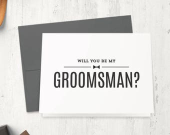 Will You Be My Groomsman Card - Be My Best Man, Ring Bearer, Usher, Officiant Cards - Groomsmen Box Proposal Ideas | Austin, Bow Tie