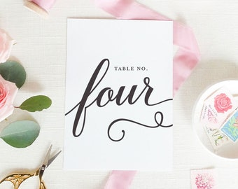 """Table Numbers - Wedding Table Cards - Table Number - Modern, Script  - 5x7"""" or 4x6"""" Printed, Custom Wedding Decor 