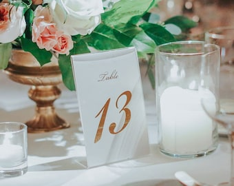 """Gold Foil Table Numbers - Wedding Table Cards - Table Number - 5x7"""" or 4x6"""" Printed, Rose Gold, Gold, Silver, Copper 