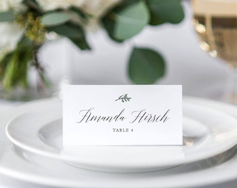 Wedding Place Cards, Escort Cards, Green Leaf Place Cards, Botanical, Calligraphy Script, Custom Place Cards, Seating Chart | Dakota Leaf
