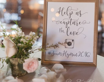 Help Us Capture the Love - Reception Sign - Instagram Sign - Hashtag Sign, Wedding Signs, Cute Wedding Decor, Custom, Personalized Wedding