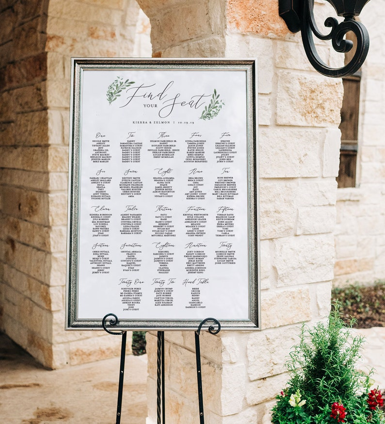 Wedding Seating Chart Printed Seating Arrangement Card Seating Chart Poster Greenery Seating Chart Alphabetical By Table Number