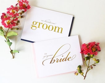 Foil Wedding Day Card to Bride or Groom - My Gorgeous Bride, My Handsome Groom, Card for My Future Husband, Vow Card, Single or Set