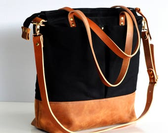 Large work tote bag Waxed Canvas and leather convertible backpack tote bag Black waxed canvas and toffee leather
