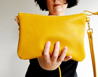 Leather Crossbody Bag for Women, Mustard Bag, Yellow Bag, Small Leather Purse, Leather Gift for Her, Leather Gift 3rd Wedding Anniversary