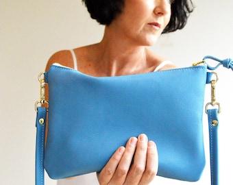 Crossbody Bag, Sky Blue, Leather Crossbody Bag, Blue Leather Bag, Small Leather Purse, Leather Gift for Her, Gift 3rd Wedding Anniversary