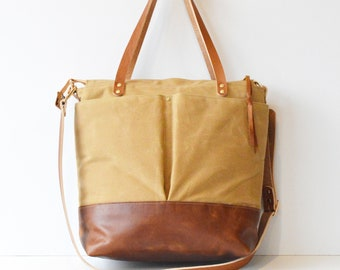 Tan Waxed Canvas and Leather Work Bag / Convertible Backpack Bag / Large Work Tote / Ideal for School or College / Handmade Leather Bag
