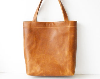 Classic Leather Tote Bag / Tan Leather Tote / Tan Leather Handbag / Leather Bag / Saddle Tan Leather Shoulder Bag / Leather Work Tote Toffee