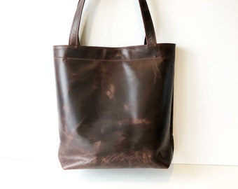 Dark Brown Leather Tote Bag. Handmade Leather Shoulder Bag in Vintage Style  Leather. Minimal Modern Classic Leather Bag. f789086324