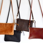Small Leather Crossbody Bag. Minimalist Leather Purse Converts to Wristlet Clutch Bag. Choose Your Colour - Black, Toffee, Brown or Whiskey