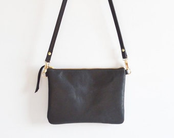 c810b1a71 Black Leather Crossbody Bag. A Minimalist Leather Purse That Can Convert To A  Wristlet Clutch Bag.