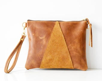 Leather crossbody bag / Leather Wristlet  / Leather clutch / Leather bag / Leather purse / Geometric leather bag  / Toffee leather bag