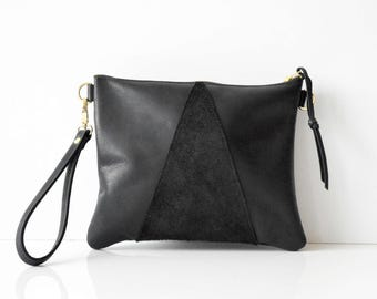 Leather crossbody bag / Leather Wristlet  / Leather clutch / Leather bag / Leather purse / Geometric leather bag  / Black leather bag