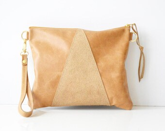 Leather crossbody bag / Leather Wristlet  / Leather clutch / Leather bag / Leather purse / Geometric leather bag  / Hazlenut leather bag
