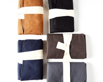 Waxed Canvas Diaper Change Mat Waterproof Baby Changing Mat Waxed Canvas Diaper Bag Roll Up Change Mat Organic Cotton - Choose Your Color