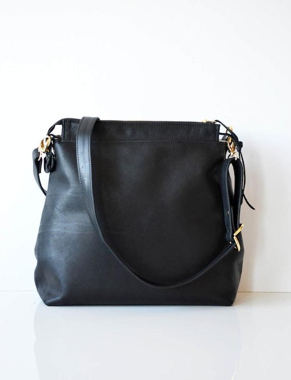 4250963d9f2 Black Leather Hobo Bag Leather Crossbody Bag Leather Purse | Etsy
