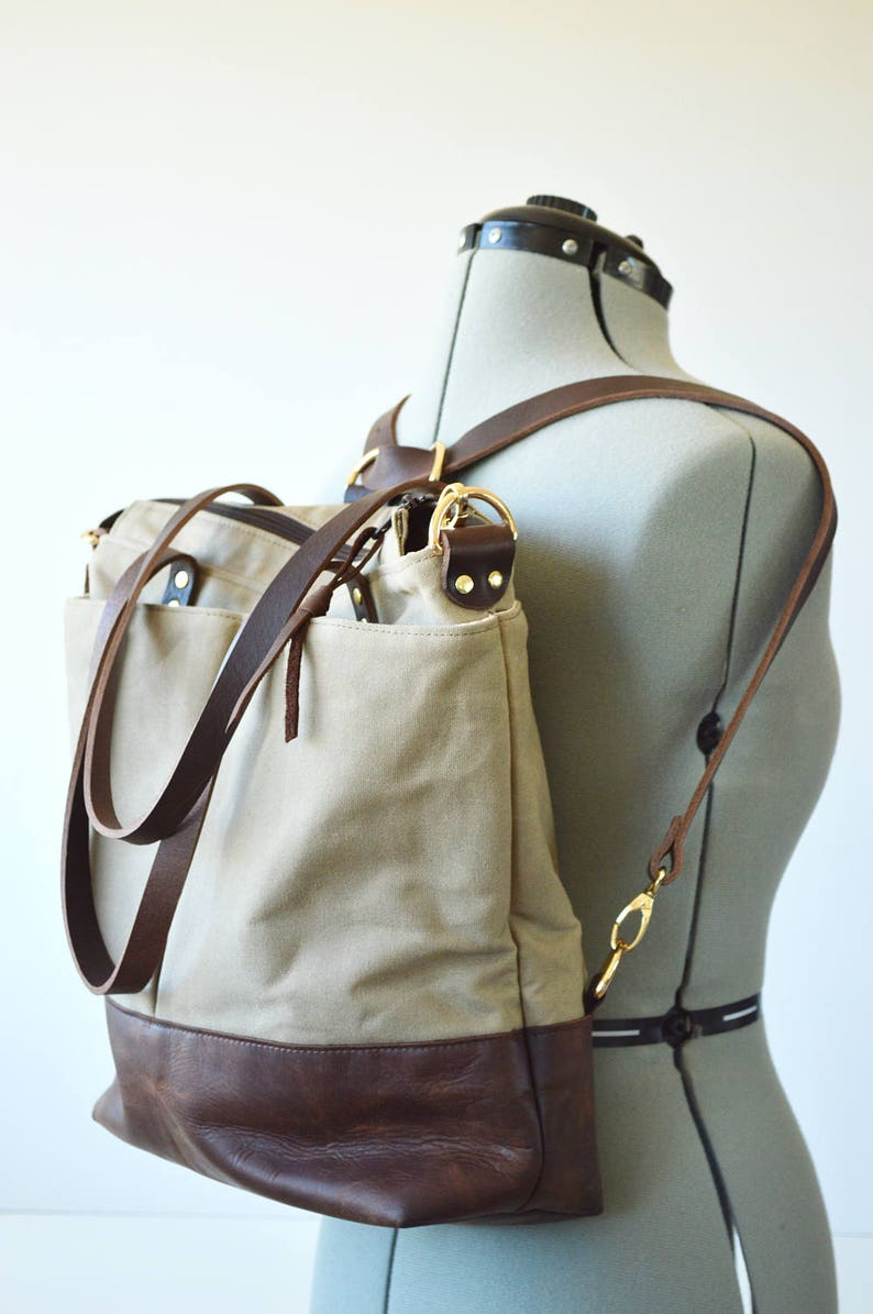 12b436721445 Waxed canvas backpack tote bag   Converts from backpack to shoulder bag to  cross... Waxed canvas backpack tote bag   Converts from backpack to shoulder  bag ...