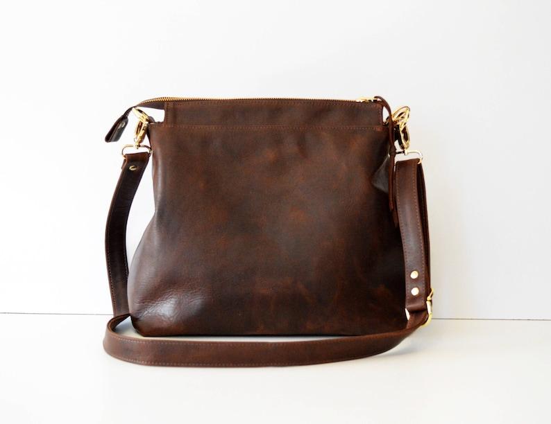 714880abb327 Brown Leather Hobo Bag. Soft Vintage Style Leather Handbag.