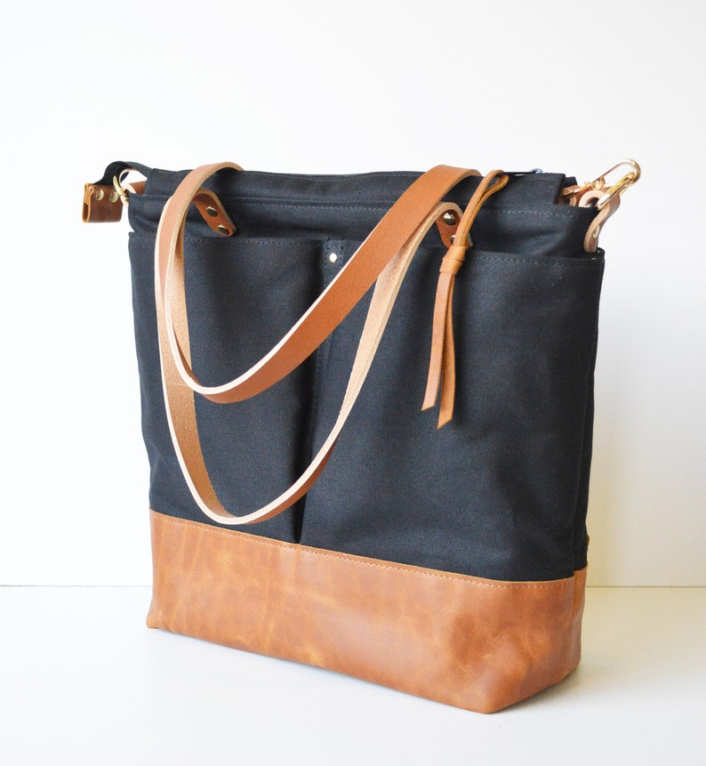 d2f8eb68168f Leather and Waxed Canvas Unisex Work Bag. Convertible to