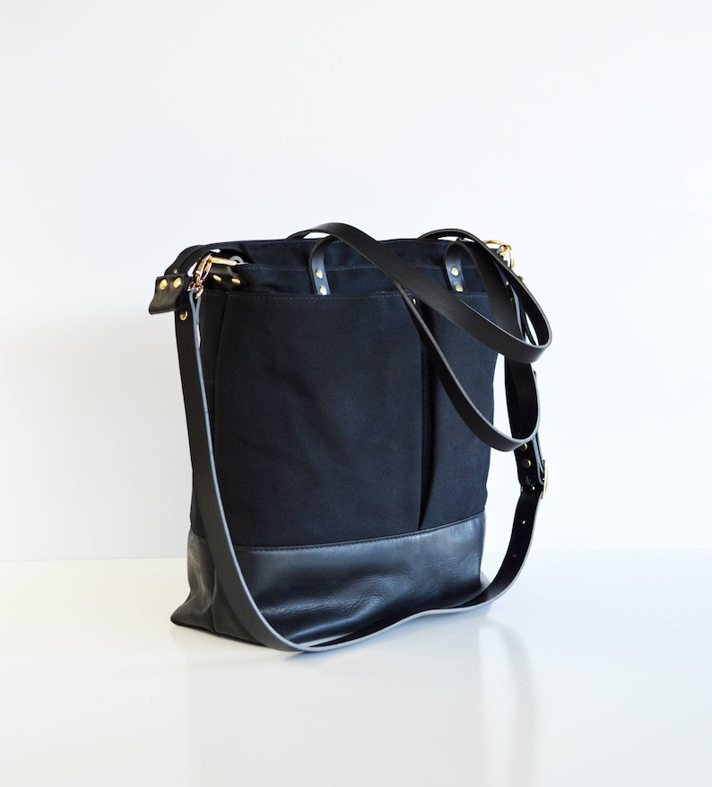 a5603f624f Black Leather Shoulder Bag Leather Waxed Canvas Backpack Tote