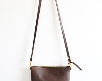 Brown Leather Crossbody Bag Minimalist Leather Purse Small Leather Wristlet Leather Purse Simple Leather Handbag Gift - Dark Brown Leather