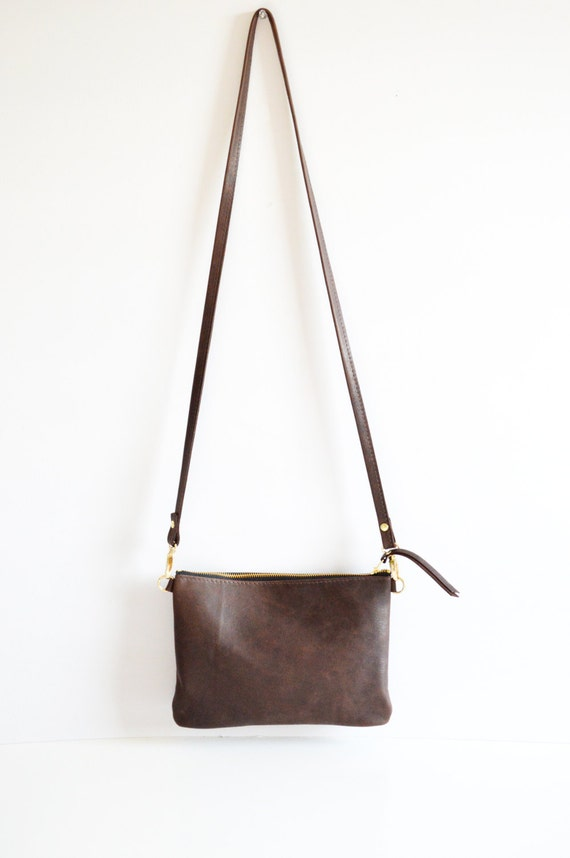 006b2d928d5 Dark Brown Leather Crossbody Bag. Small Minimalist Leather   Etsy
