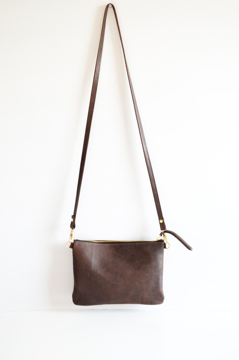 2192318066e6 Dark Brown Leather Crossbody Bag. Small Minimalist Leather