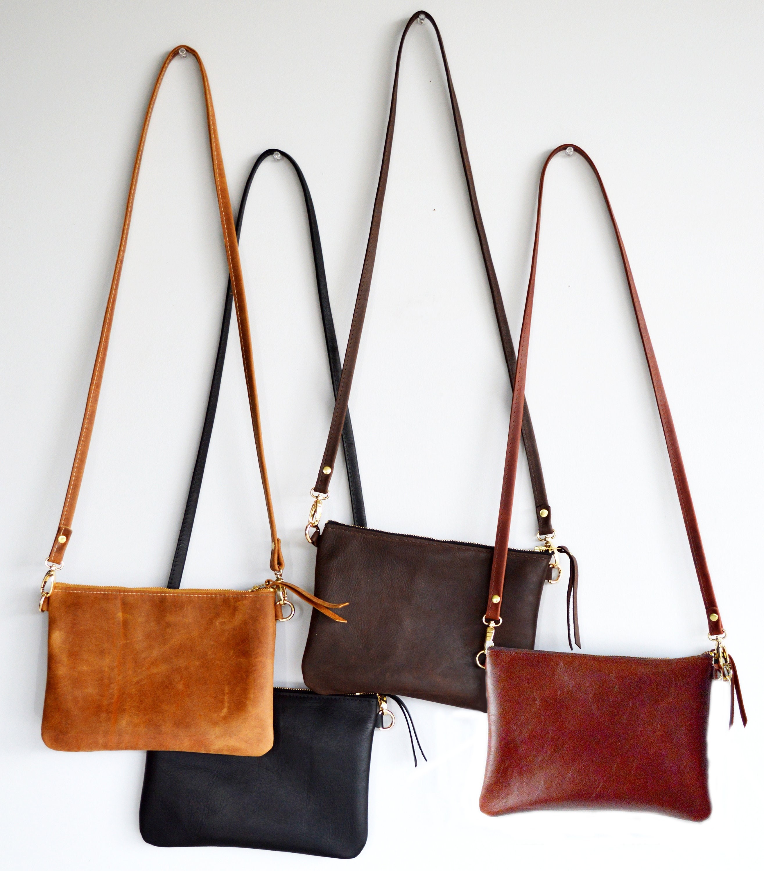 468325bfa0993 Small Leather Crossbody Bag. Minimalist Leather Purse Converts | Etsy