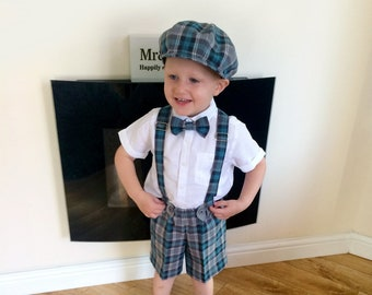 Toddler boy outfit Boys newsboy hat Baby boy shorts with suspenders Ring bearer outfit Toddler boy wedding clothes Boy bowtie boy shorts set