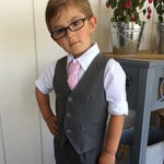 Toddler ring bearer outfit Grey wedding outfit boy Vest and pants Baby boy vest Toddler boy pants Page boy outfit Infant boy wedding clothes
