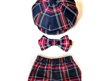 Baby boy tartan outfit Baby newsboy hat red tartan bowtie Baby boy diaper cover and hat Newborn baby outfit Baby boy hat bowtie and bloomers