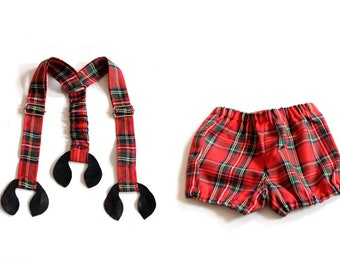 Baby boy bloomers and suspenders Baby red tartan suspenders Baby boy diaper cover Newborn baby outfit Baby boy shorts and braces
