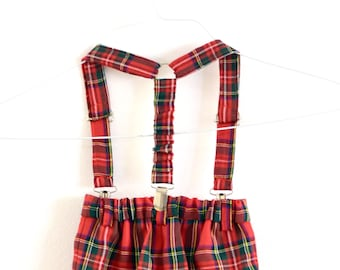 Baby bloomers with suspenders in red and green tartan, boys Christmas outfit for newborn boy, baby boy, toddler set diaper cover with braces