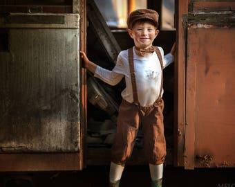 Boys brown outfit Ring bearer outfit Baby boy newsboy hat infant shorts with suspenders and bow tie Toddler boy wedding outfit Toddler hat