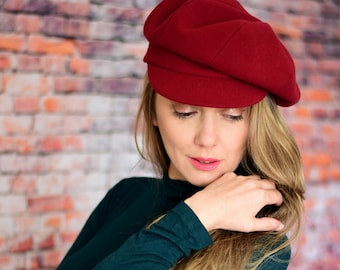 Red newsboy cap, womens red wool beret hat with bill, slouch hat with visor, red tam with bill, newspaper boy cap, oversize beret spring hat