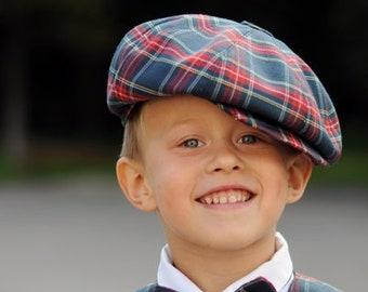 Tartan newsboy cap Navy and red hat Toddler boy cap Baby boy hat Blue Infant hats boys wedding ring bearer outfit Plaid hat Blue tartan hat