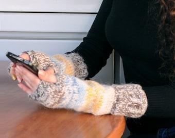 Knit fingerless mitts Knit fingerless gloves Knit fingerless mittens Brown knit wrist warmers Warm knit gloves Christmas gifts for women