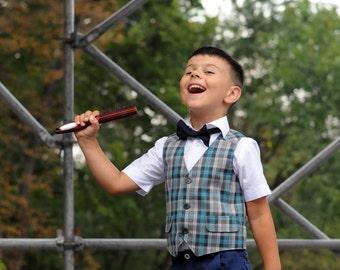 Boys tartan vest Toddler boy vest Baby boy vest Boys waistcoat Ring bearer outfit gray Boy wedding outfit Grey waistcoat Baby boy photo prop