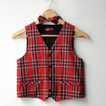 Boys red vest and bow tie Toddler boy vest Baby boy bow tie Infant vest boy Christmas outfit Page boy outfit Boy vest Toddler vest and tie