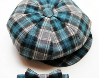 Tartan news boy hat and bow tie Toddler boy newsboy hat Ring bearer outfit Infant bow tie and hat Baby boy photo prop Birthday gift for boys
