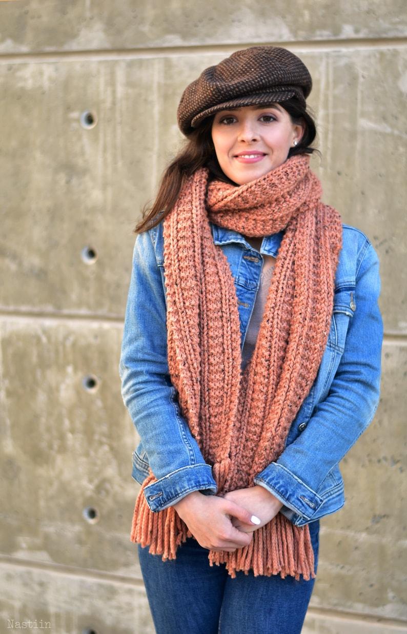 Hand knit chunky super scarf in orange unisex oversize scarf image 0